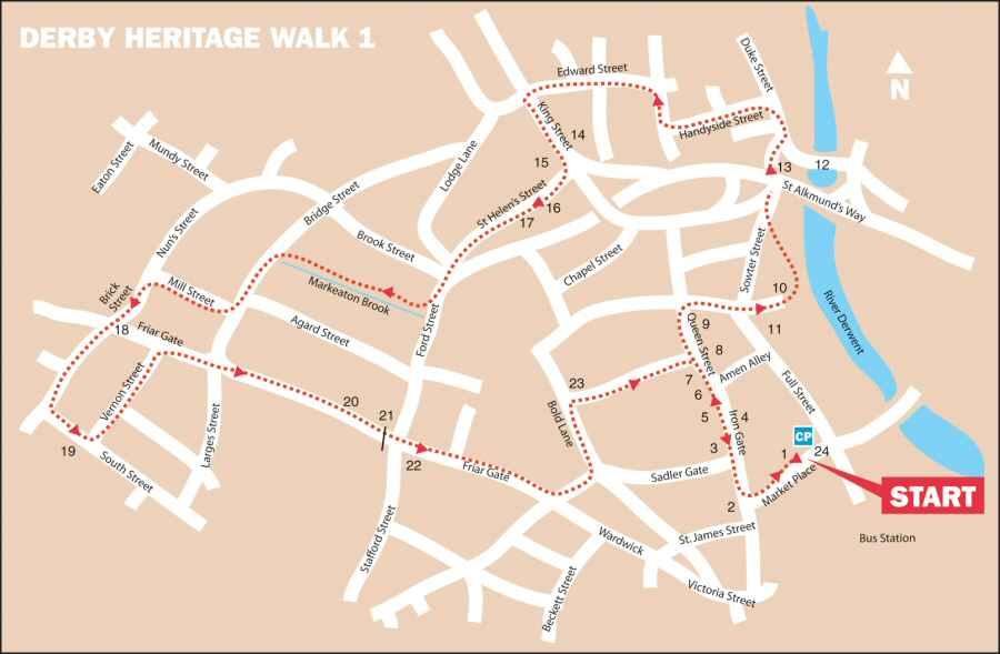 Map Of Uk Derby.Derby Heritage Walks 1 Discover Derby